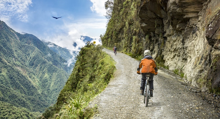 Road of death by bicycle in Bolivia