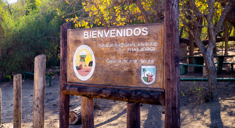 Fray Jorge National Park sign in La Serena