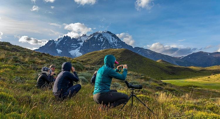 Personas tomando fotografías en Patagonia