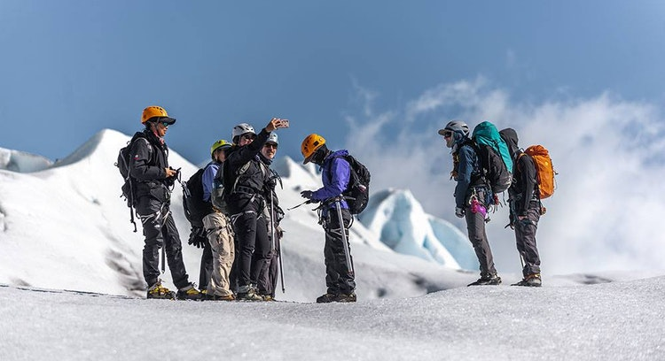 group ice hike on grey glacier