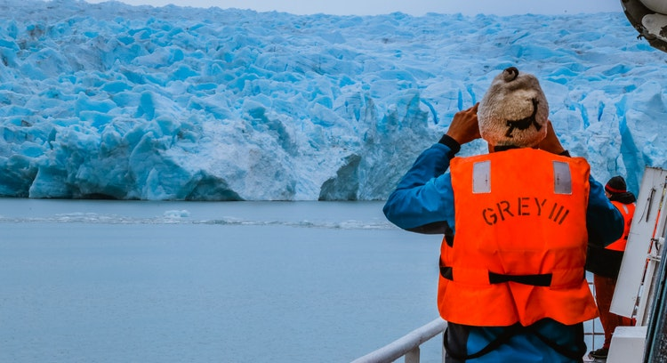 Taking picture on Grey Glacier