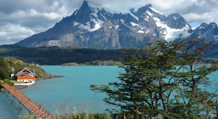 View of Lake Pehoé and Paine Massif.
