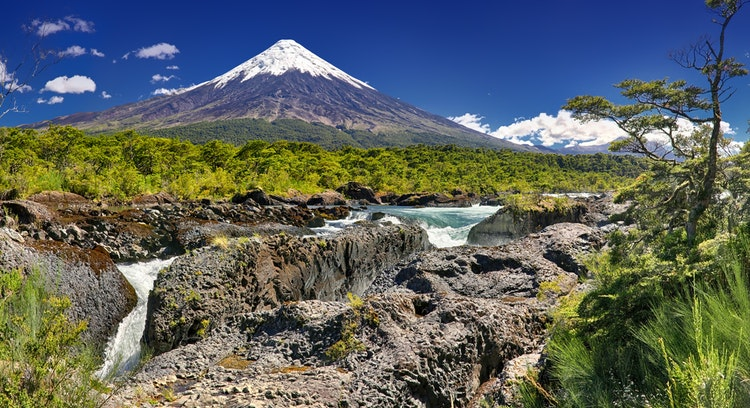 Petrohue falls and Osorno volcano