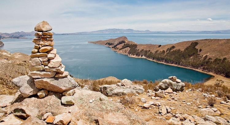 Vista do Lago Titicaca.