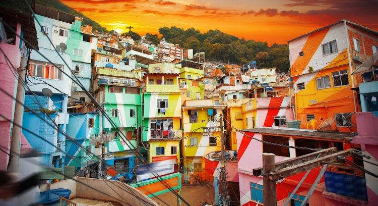 colorful favela in brasil