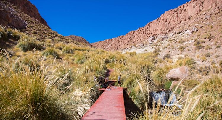 Tourists at the Puritama Hot Springs in San Pedro de Atacama