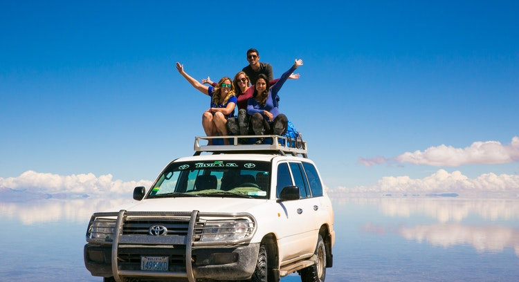 Vehicle over water on Uyuni Salt Flat